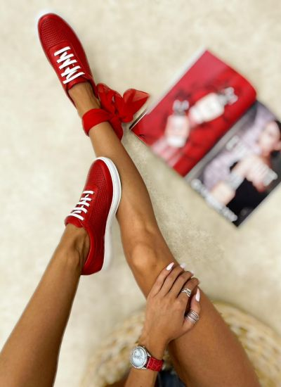 Leather sneakers LAKE - RED