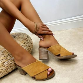 Leather slippers MIRRNAH - CAMEL