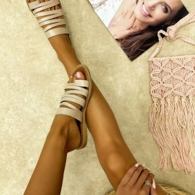 Leather slippers ENID - BEIGE