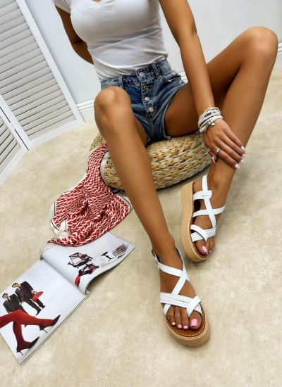 Leather sandals MEHAL - WHITE