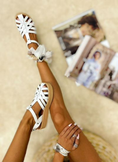 Leather sandals AILA - WHITE