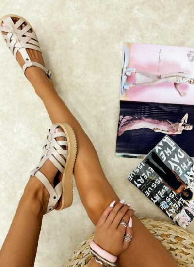 Leather sandals AILA - BEIGE