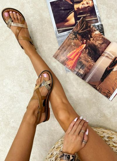 Leather sandals NYIA - CAMEL