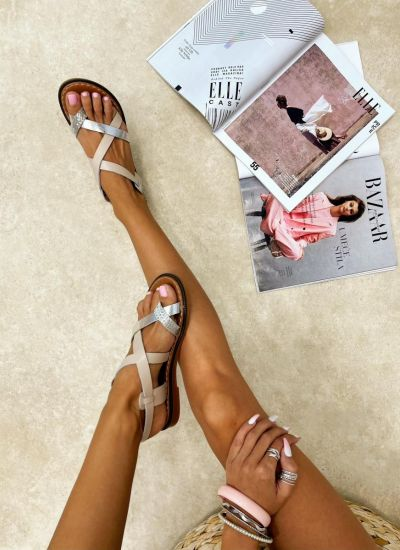 Leather sandals NYIA - BEIGE