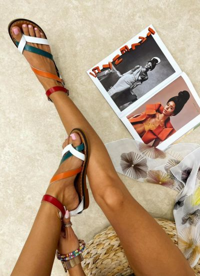 Leather sandals AIME - WHITE