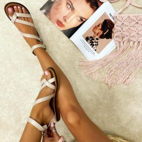 Leather sandals AIME - BEIGE