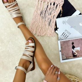 Leather sandals MAEVI - BEIGE