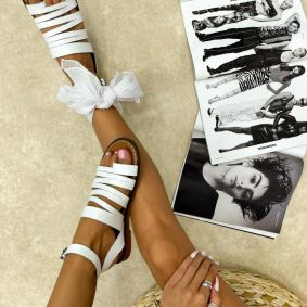 Leather sandals MAEVI - WHITE