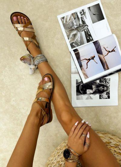Leather sandals MYRA - CAMEL