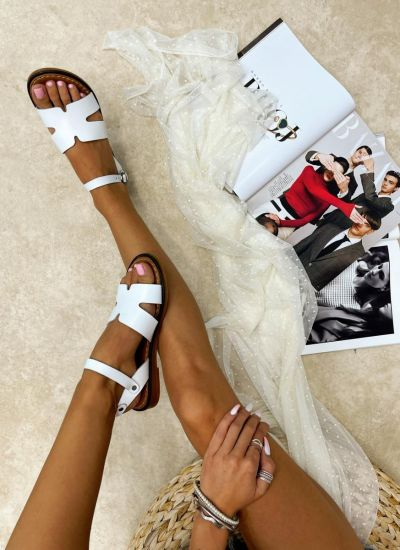 Leather sandals LEANNA - WHITE