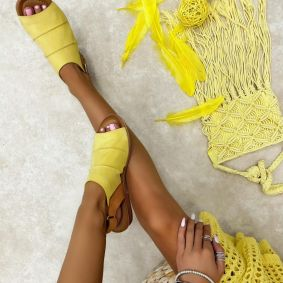 Leather sandals MAILA - YELLOW