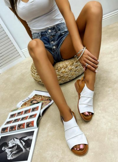 Leather sandals MAILA - WHITE