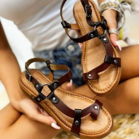 Leather sandals ANGELA - BROWN