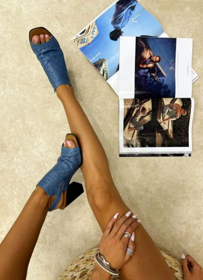 Leather sandals SOFIAH - BLUE