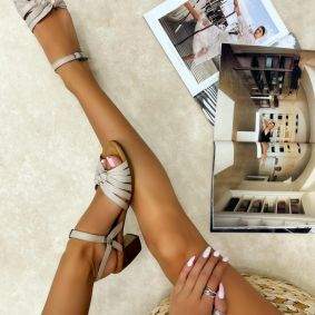 Leather sandals EMELLE - BEIGE