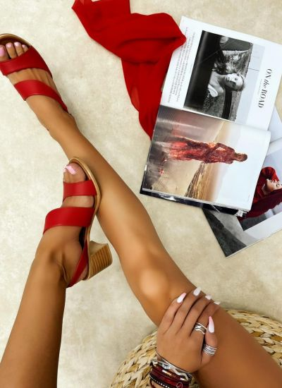 Leather sandals BIANKA - RED