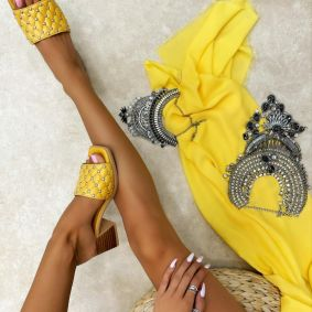 Leather slippers MANISA - YELLOW