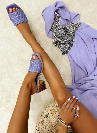 Leather slippers MANISA - VIOLET