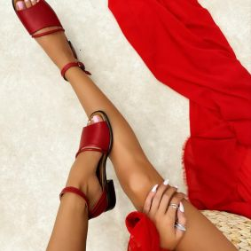 Leather sandals GIADA - RED