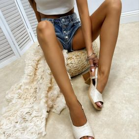 Leather sandals AURIA - BEIGE