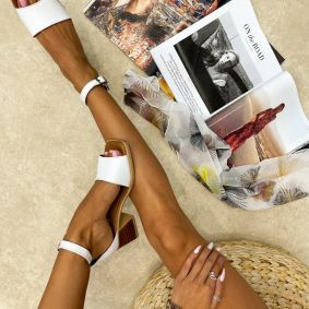 Leather sandals ALEEN - WHITE