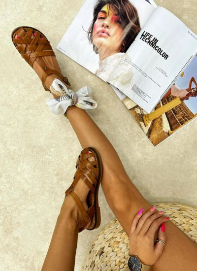 Leather sandals ROME - CAMEL