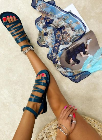 Leather sandals FRIEDA - TURQUOISE