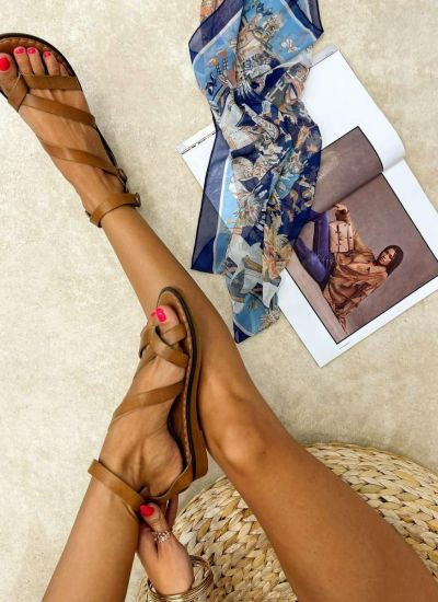 Leather sandals AIME - CAMEL