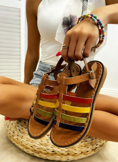 Leather sandals IMMA - CAMEL