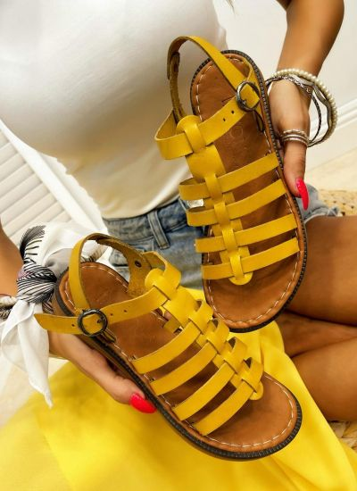 Leather sandals IMMA - OCHRE