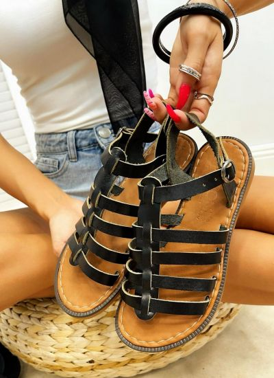Leather sandals IMMA - BLACK