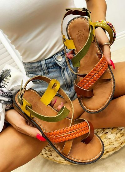 Leather sandals SALOMA - GREEN