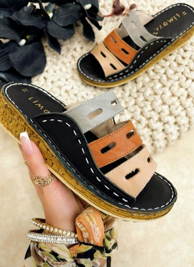 Leather slippers REME - BLACK