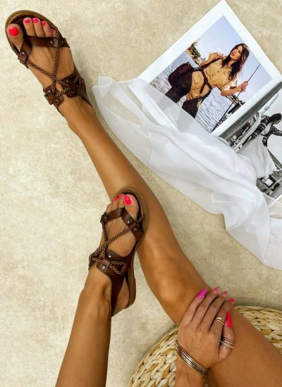 Leather sandals NUO - CAMEL