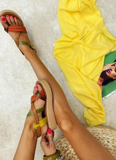 Leather sandals MEHAL - OCHRE