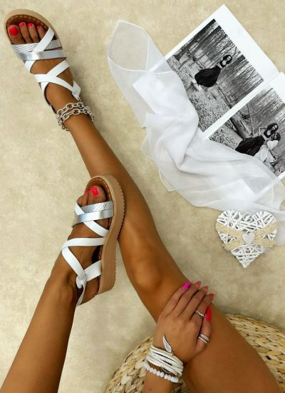 Leather sandals JHINUK - WHITE