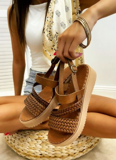 Leather sandals MAICIE - BROWN