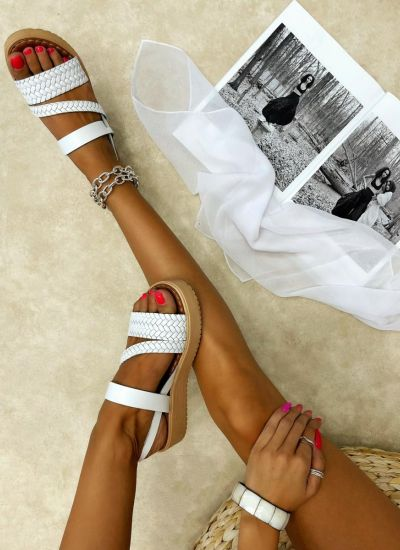 Leather sandals MAICIE - WHITE