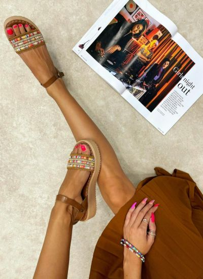 Leather sandals CACEY - CAMEL