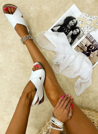 Leather sandals LONDON - WHITE