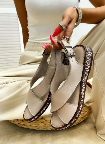 Leather sandals CAYLA - BEIGE