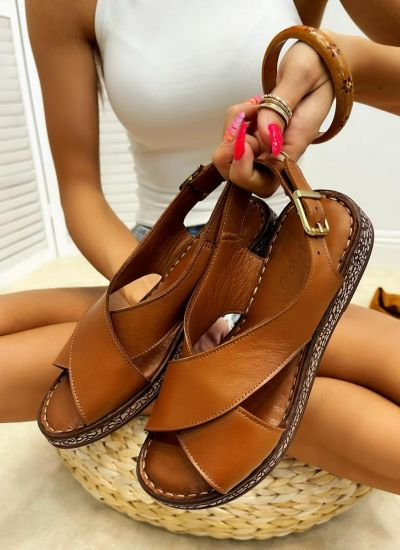 Leather sandals CAYLA - CAMEL