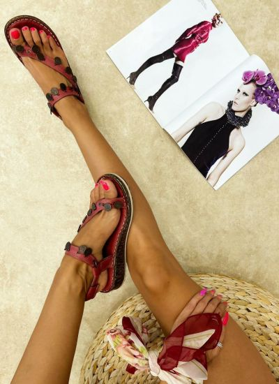 Leather sandals DARCY - WINE RED