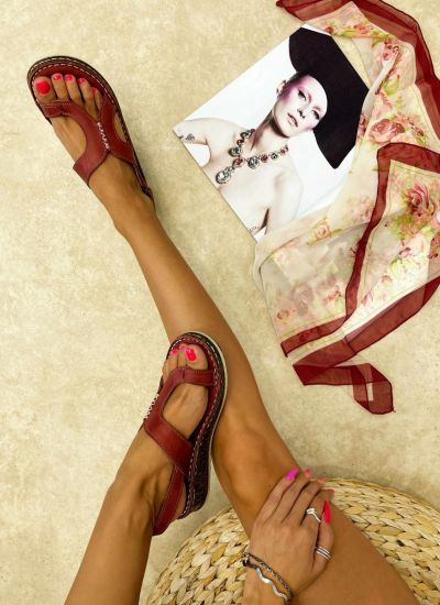 Leather sandals ASTRID - WINE RED