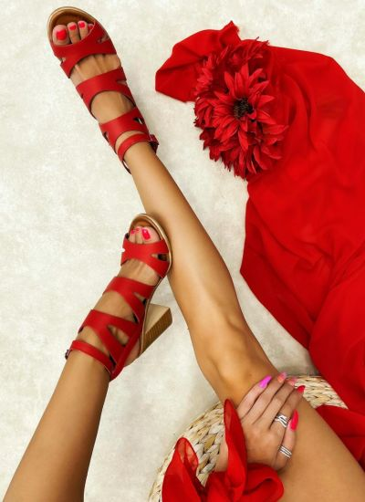 Leather sandals LEILA - RED