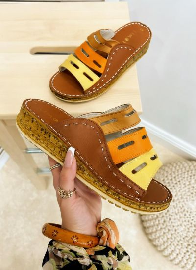 Leather slippers REME - CAMEL