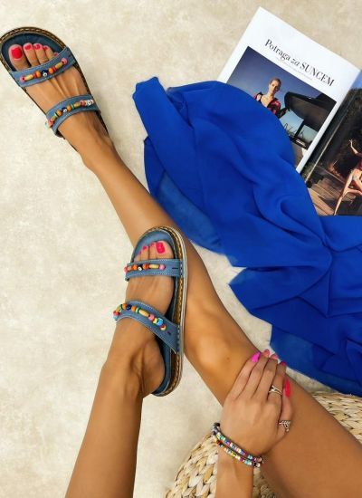 Leather slippers HIFZA - BLUE