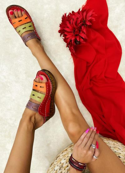 Leather slippers PURVA - RED