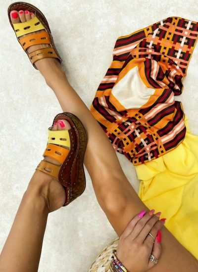 Leather slippers PURVA - BROWN
