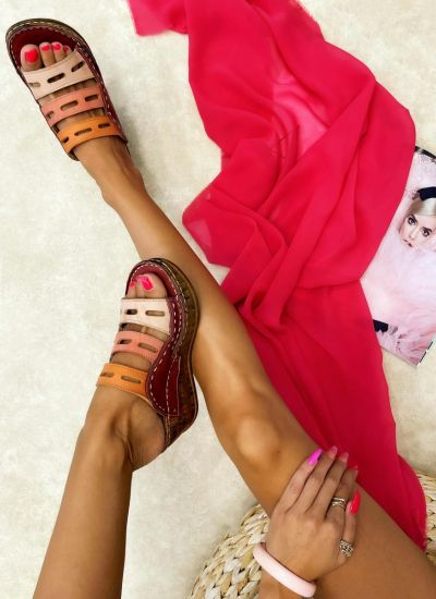 Leather slippers PURVA - WINE RED